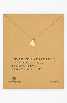 Free shipping and returns on Dogeared 'Sparkle Heart' Boxed Pendant Necklace at Nordstrom.com. A facet-textured heart pendant hand-cast in gold-dipped sterling silver dangles from a dainty chain necklace.