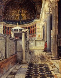 Sir Lawrence Alma-Tadema (Sir Lawrence Alma Tadema): Interior of the Church of San Clemente, Rome