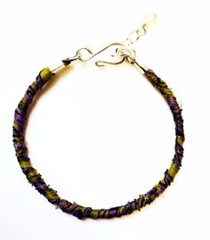 Recycled Sari Knotted Bracelet- Purple and Green