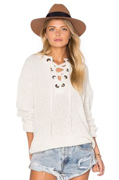 cc566a7bb47e Lace Up Sweater in Ivory at REVOLVE. Free day shipping and returns