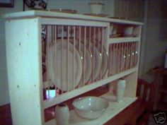 Wood Plate/Dish/Cup Rack Dining Kitchen from ebay.  I really want something like this but I have nowhere to put it.