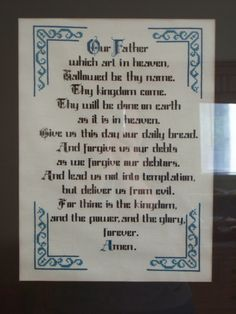 The Lord's Prayer - counted cross stitch
