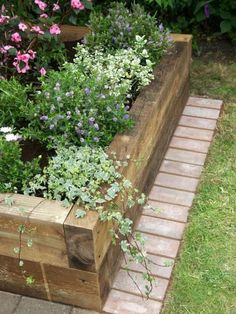 Thick wood planter bed