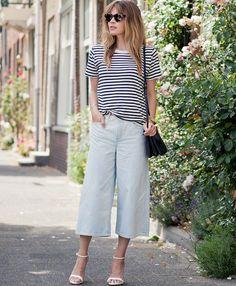 Décliné en jean clair, la jupe culotte tire son épingle du jeu (blog Fash n Chips)