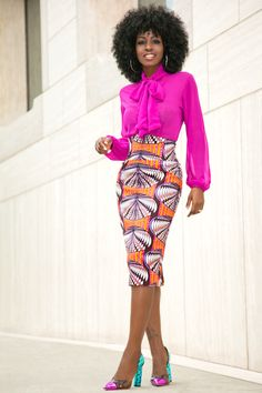 Style Pantry   Front Tie Blouse + Printed Midi Skirt