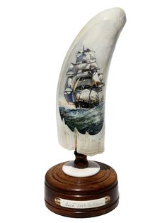 Color scrimshaw on ancient whale ivory by Chris Lehwalder.