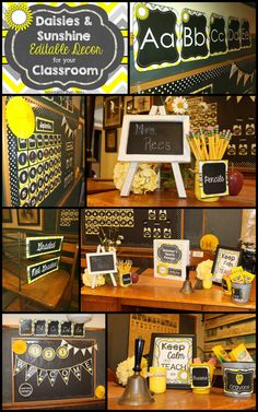 Editable Chalkboard Classroom Decor - Sunshine and Daisies. LOVE the classy cheerfulness of the yellows, grays, and chalkboard of this classroom decor!  Beautiful!