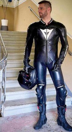 Dainese biker lad Motorcycle Wear, Motorcycle Leather, Biker Leather, Leather Overalls, Mens Leather Pants, Motard Sexy, Biker Boys, Motorbike Leathers, Men In Uniform