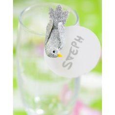 Oiseau argent pailleté sur pince 4 cm les 2, déco de table, Noël, fêtes et mariage.