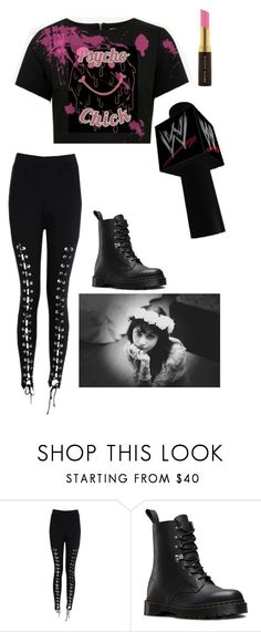 """""""Elle - Starting off Smackdown"""" by lsd-and-halloweencandy ❤ liked on Polyvore featuring Boohoo, Dr. Martens, WWE and Kevyn Aucoin"""