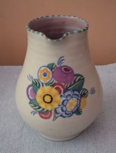 Large Poole Pottery Carter Stabler Adams Floral Lemonade Jug  vintage 1930's  | eBay