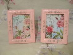 Pair Shabby Pale Pink Chippy Roses Photo Frames Ornate Distressed Vintage Pink Rosses Print Chic Victorian Cottage by VintageChicPleasures on Etsy