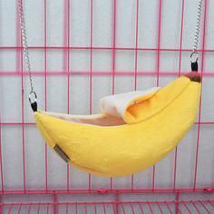 Size: width width Suitable for small pet eg. Sugar glider Squirrel Hamster Mouse Guinea pigs and other small pets. Could hanging On the cage.It could be a hammock. Super cute banana outlookbright coloryour pet will like it. Hamsters, Hamster Toys, Hamster Care, Hamster Stuff, Chinchillas, Hamster Bedding, Guinea Pig Bedding, Hamster Accessories, Rat Cage Accessories