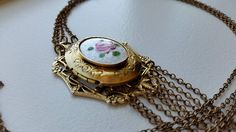 Locket with Pink Rose on a White Guilloche