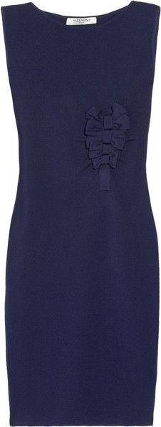 Valentino Bow-embellished Knitted Wool Dress