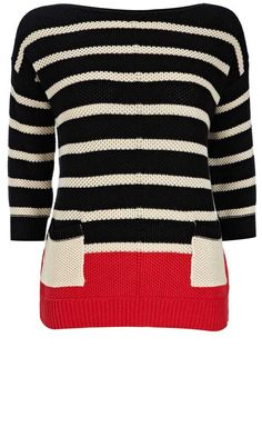 Love this Stripe Jumper By Wallis. Works well with blue sheer, beige, or black pants!