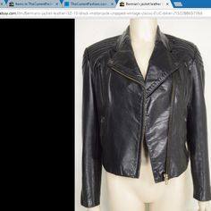 Berman's jacket leather SZ 10 black motorcycle cropped vintage classic EUC biker. Read measurements in listing. http://stores.ebay.com/thecurrentfashion?_dmd=2&_nkw=jacket+leather , http://stores.ebay.com/thecurrentfashion/Outerwear-/_i.html?_fsub=7072404012 , http://thecurrentfashion.com | #TheCurrentFashion #jacket #leatherjacket #leather #vintagejacket #motorcyclejacket #bikerjacket #vintageleatherjacket #vintagebikerjacket #style #fashion #shopping #onlineshopping #eBay #eBayFashion