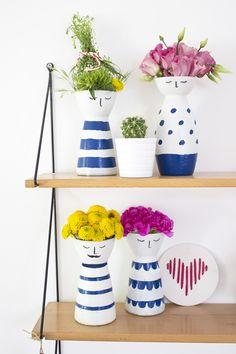 DIY Vasen mit Gesichtern...aus alt mach neu