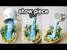 How to make amazing cup waterfall fountain show piece Diy Waterfall, Waterfall Fountain, Fun Crafts, Diy And Crafts, Floating Tea Cup, Teacup Crafts, Glue Gun Crafts, Flower Pot Design, Diy Fountain
