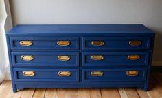 blue dresser and nightstand with brass handles by VintageFreshShop, $500.00