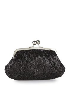 Kate Landry Social Sequin Frame Clutch in Black  $50 at Maple & West