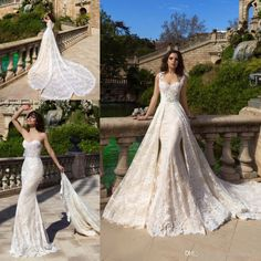 2017 Vintage Summer Champagne Lace Overskirts Wedding Dresses Mermaid Wedding Dress Bridal Gowns With Detachable Train on http://ali.pub/ik914