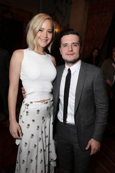 Jennifer Lawrence and Josh Hutcherson at The Hunger Games: #MockingjayPart2 cast hand and footprint ceremony at Hollywood Blvd. on Saturday, October 31, 2015, in Los Angeles, CA.