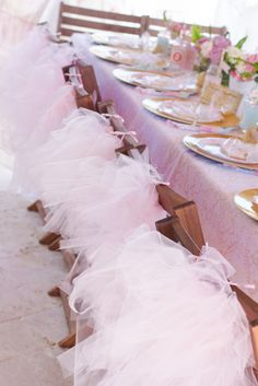 Tutus for every guest at a Princess girl birthday party!  See more party ideas at CatchMyParty.com!