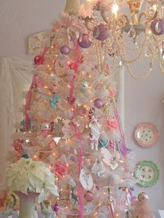 A's room tree: dainty lt pink, powder blue, and white Christmas tree
