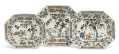 A set of three Chinese famille-verte dishes, Qing Dynasty, Kangxi Period