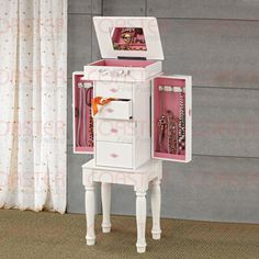 White Jewelry Armoire with Pink Hardware by Coaster  http://www.cccstores.com/white-jewelry-armoire-coaster-900146.html #furniture #jewelryforwomen