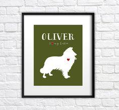 Collie Dog Art Custom Pet Silhouette  8x10 Art by WanderingFables