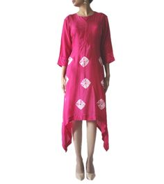 Pink Cotton Silk Hand Tied Bandhej Pattern Kurti #ethnicwear #kurti #bandhej #cotton #silk #summer #indianroots