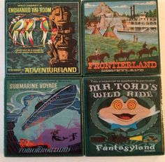 Disneyland Vintage Poster Coasters - YOUR CHOICE - Set of 4 on Etsy, $15.00