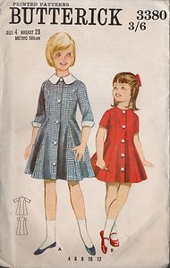 Vi#ntage #SEWING #PATTERN Girls #Princess Line #Coat #Dress 2 Variations Size 4