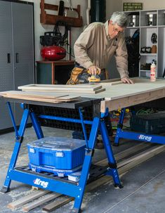 The Kreg Mobile Project Center can be used as a conventional workbench, sawhorse, assembly table or clamping station—all in one compact, foldable, portable package. With the extension tables folded down, it's a sturdy sawhorse. Flip the extension tables up and it becomes a large work surface with a grid of dog holes for clamping. Included Automaxx Bench Clamp slides into center-mounted T-track to secure stock horizontally, or into side slots to clamp stock vertically.
