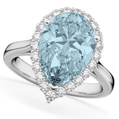 This white gold pear shaped halo engagement ring features of accent diamonds creating a halo around a center aquamarine. Pear Cut Engagement Rings, Diamond Wedding Rings, Diamond Rings, Halo Diamond, Gold Wedding, Wedding Bands, Blue Topaz Diamond, White Gold Rings, Beautiful Rings