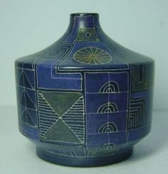 blue and purple midcentury pottery vase by Lu Klopfer