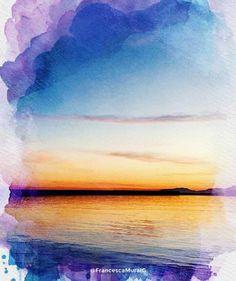 Cagliari - Marina di Bonaria.  #cagliari #sardegna #sardinia #italia #italy #turismo #tourism #congliocchidiunturista #watercolor #acquerello #natura #nature #wave #waves #onde #mediterranean #mediterraneo #tramonti #tramonto #sunset #sea #mare #landscape #panorama
