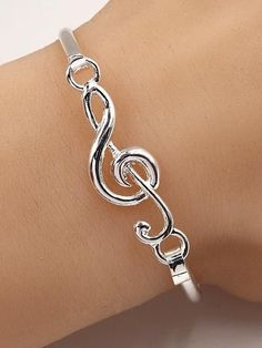 Music Note Silver Bangle Bracelet
