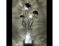 Diamond Silver Wire Lamp with Black Flowers and Jewels