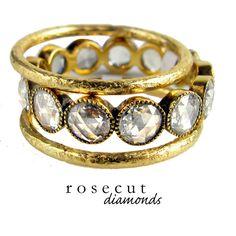 Beautiful Rosecut Diamonds in Yellow Gold