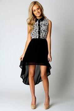 Lucy Floral Mesh Top Button Up Dip Hem Dress