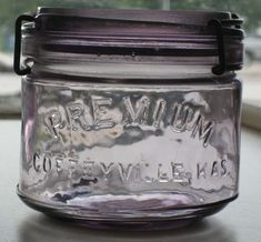 Antique Premium Canning Jar PINT PURPLE Coffeyville Kansas Slide Glass Wire Clsp
