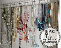 tie racks as jewelry storage! there is an old tie rack hanging in the back of our guestroom closet and i was about to throw it away! this project is getting done this week!