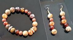 Обеци и гривна в оранжево кафяво, Онлайн магазин Моник
