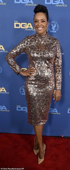 Precious metals: Aisha Tyler was a vision in copper sparkles. Black Celebrities, Celebs, Blue Frock, Aisha Tyler, Red Carpet Gowns, Frocks, Peplum Dress, Black Women, Awards