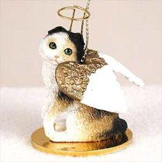 Scottish Fold Tortoise & White Cat Angel Ornament