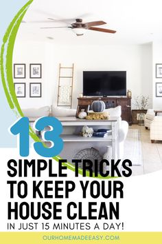 Do you feel overwhelmed with the mess in your home every day? Use this simple plan to keep your house clean with only about 15 minutes of hands-on cleaning each day. Enjoy a tidy home without hours spent keeping it that way! Diy Home Cleaning, Homemade Cleaning Products, Cleaning Closet, House Cleaning Tips, Cleaning Hacks, Small Space Organization, Laundry Room Organization, Organization Hacks, Organizing