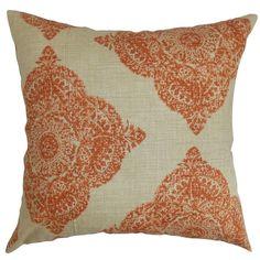 Daganya Damask Terracota Down Filled Throw Pillow